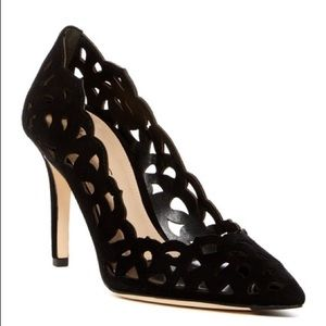 Via Spiga $398 Laser Cut Suede Pumps